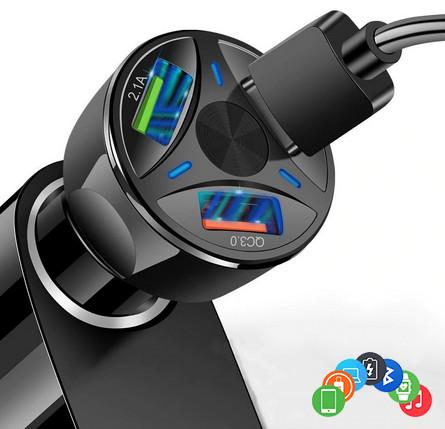Автозарядка на 3 порта qualcomm quick charge 3.0 + 2.1 a зарядное фото №1