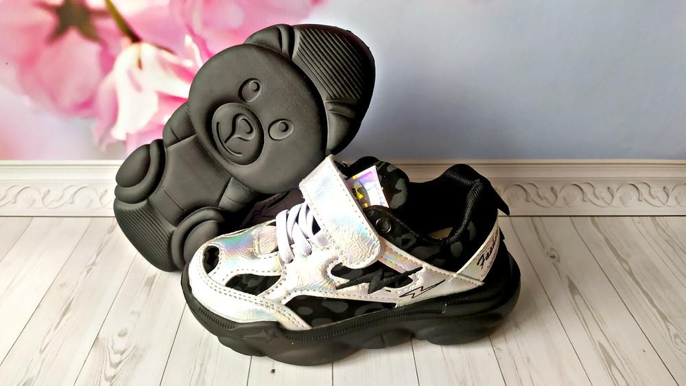 Кроссовки серебристые с черным р-р 25-36 фирма angel violetta фото №1