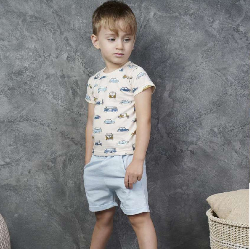 "Трикотажный комплект ""автомен"": шорты+футболка с застежкой на плече. фото №1"