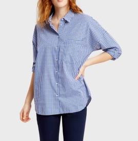 Рубашка свободного кроя оверсайз прямая широкая в клетку ostin фото №1