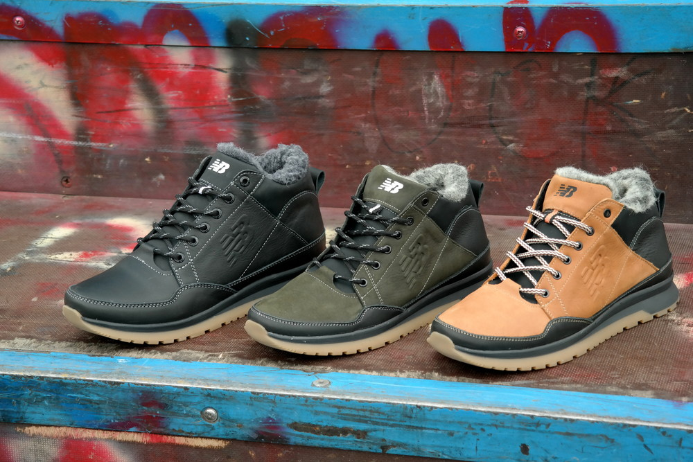 Мужские кожаные зимние кроссовки ботинки на меху new balance фото №1