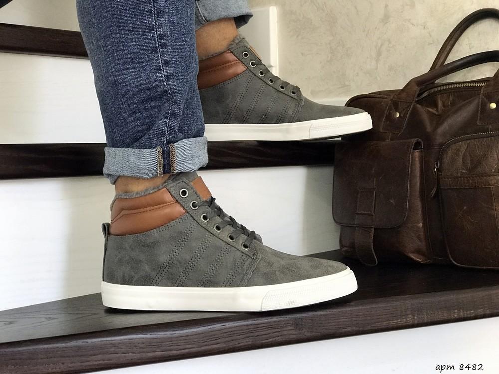 Зимние мужские кроссовки vintage серые 8482 фото №1
