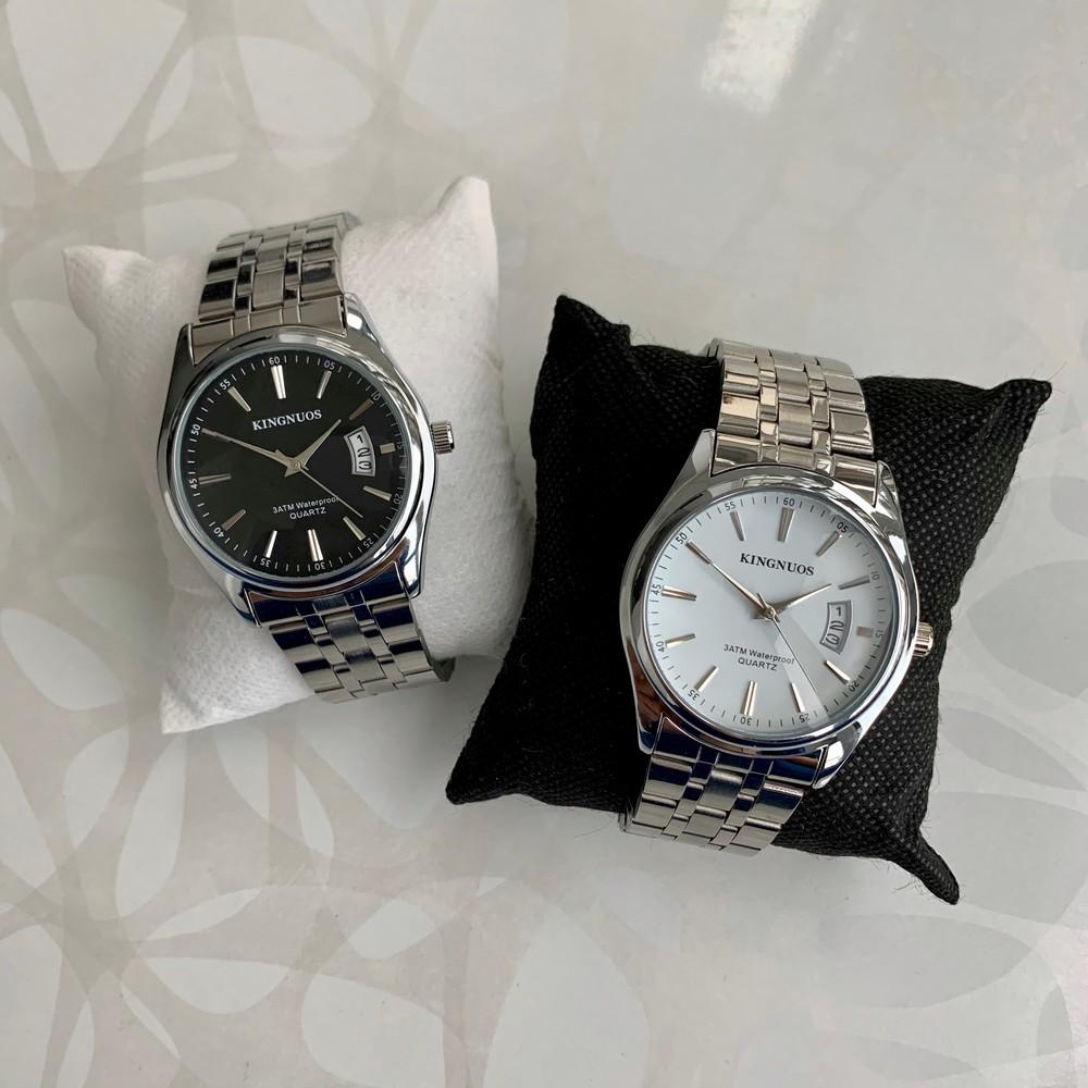Мужские часы kingnuos серебристые с белым с чёрным с датой фото №1