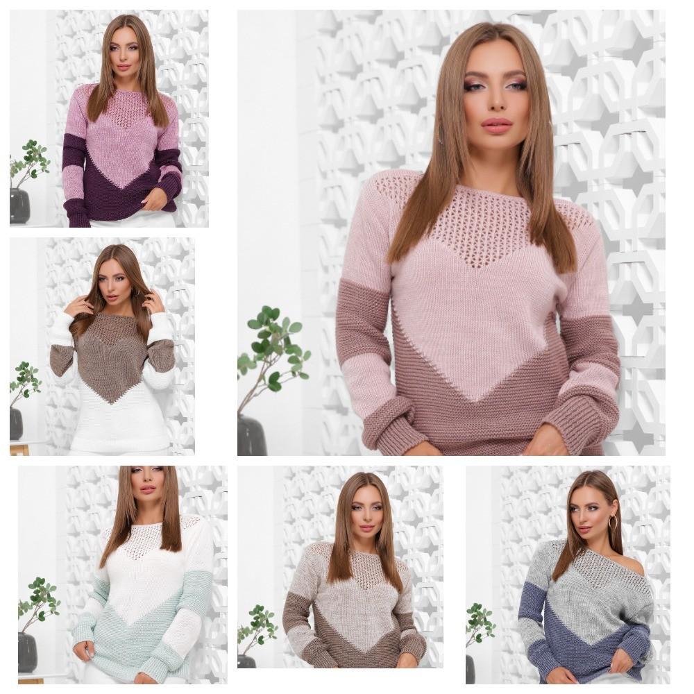 Стильный двухцветный вязаный свитер 46-52 р фото №1