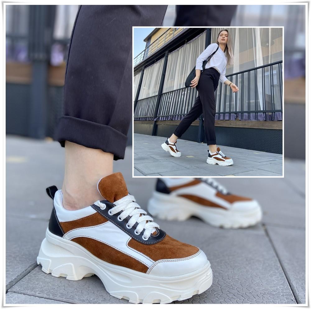 Стильные комбинированные кожаные кроссовки на платформе, кроссовки кожа фото №1
