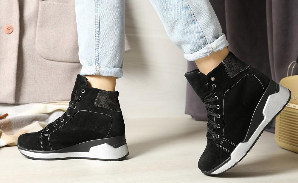Cтильные зимние ботинки на платформе замшевые, ботинки замша фото №1