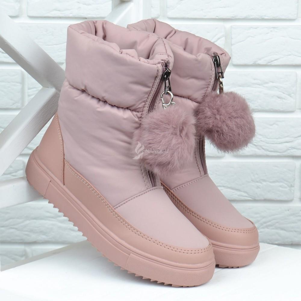 Дутики женские термо зимние сапоги pink помпон - кролик розовые пудра фото №1