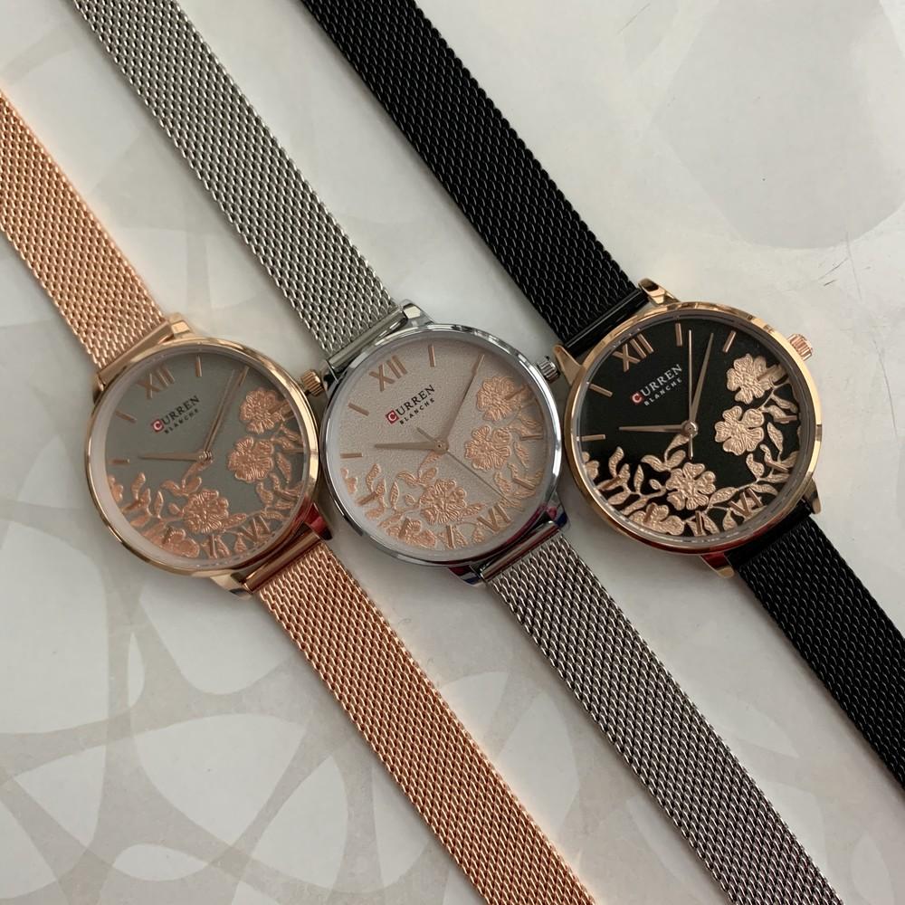 Женские наручные металлические часы curren blanche каррен черные серебристые розовые с цветами фото №1