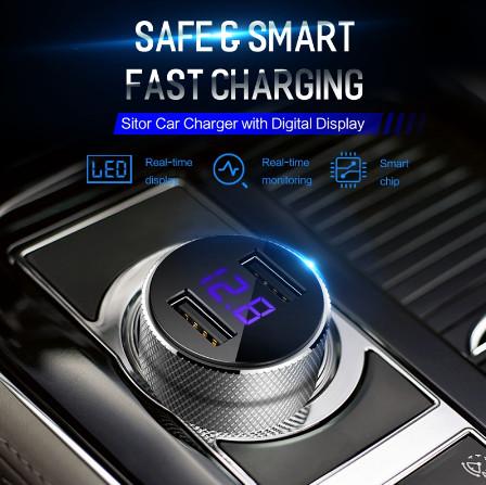 Автомобильное зарядное устройство usb rock с цифровым дисплеем фото №1