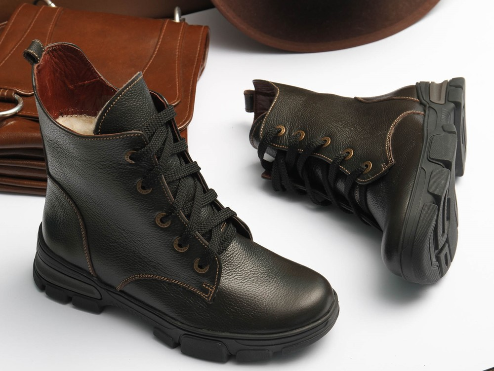Теплые кожаные коричневые зимние ботинки, ботинки кожа зима на толстой подошве фото №1