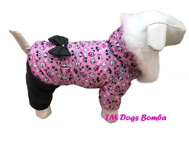 Зимний комбинезон для девочки собачки розовый ad-4 фото №1