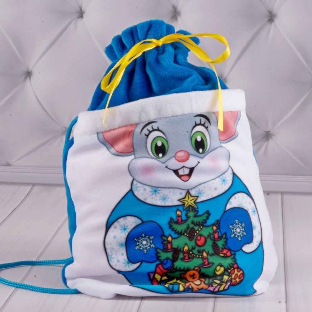 Новогодний мешочек для подарков синий фото №1