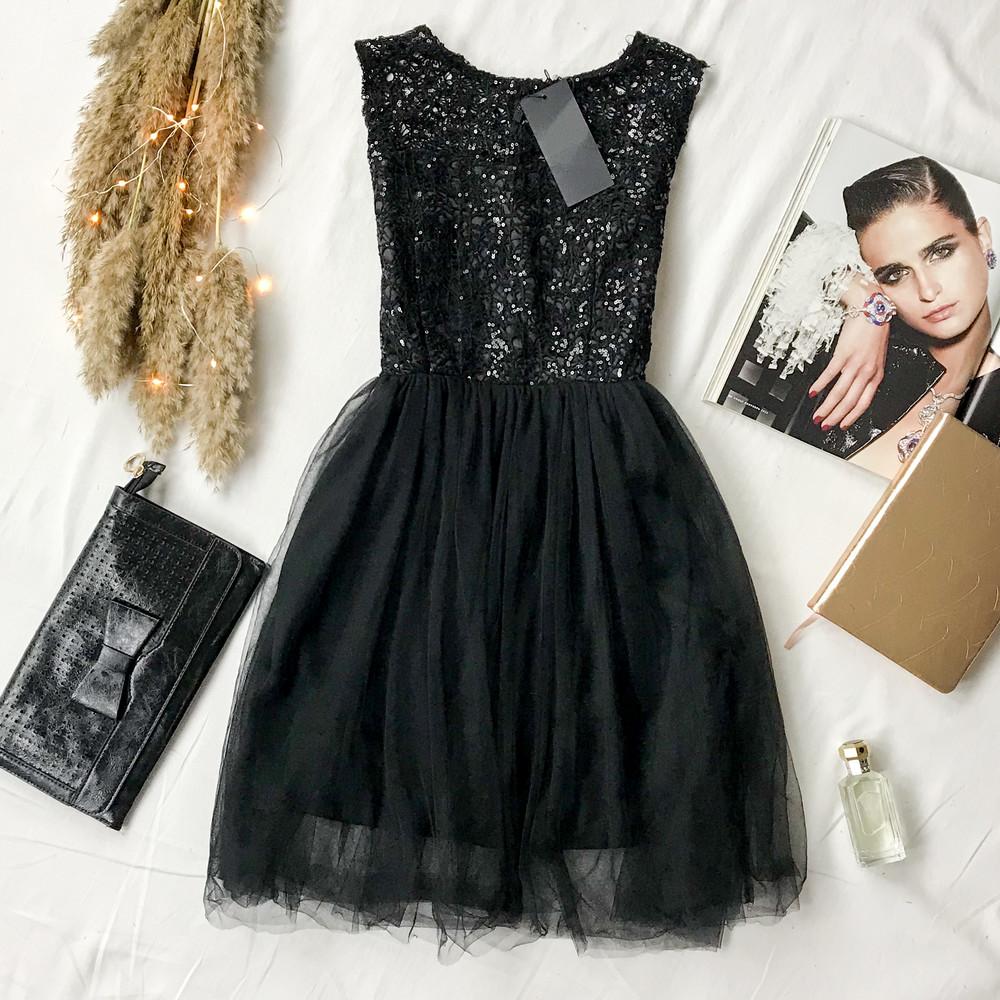 Красивое платье с топом расшитым пайетками и пышной фатиновой юбкой dr1948003 фото №1