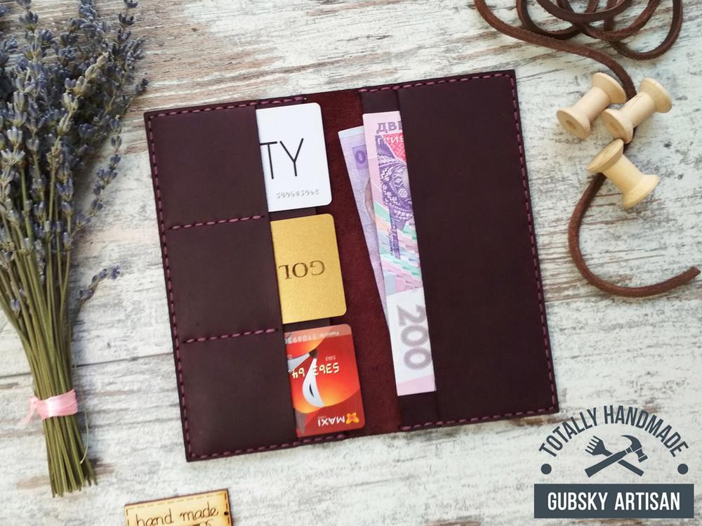 Купюрник кошелек кожаный ручная работа, клатч travel case фото №1