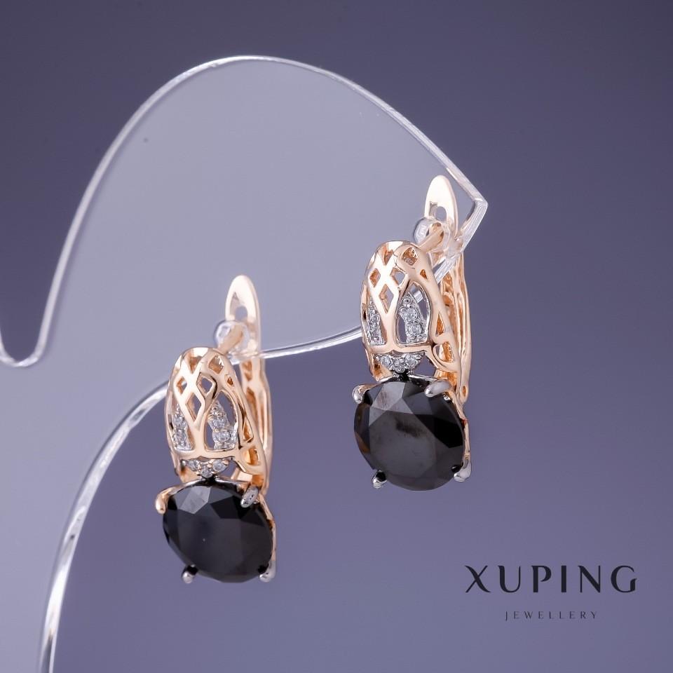 Серьги xuping с черными цирконами фото №1