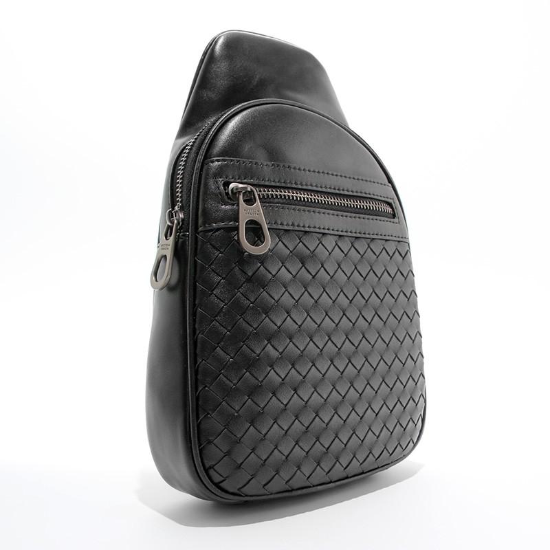 Сумка через плечо, слинг кожаный черный bottega veneta 22668-3 фото №1