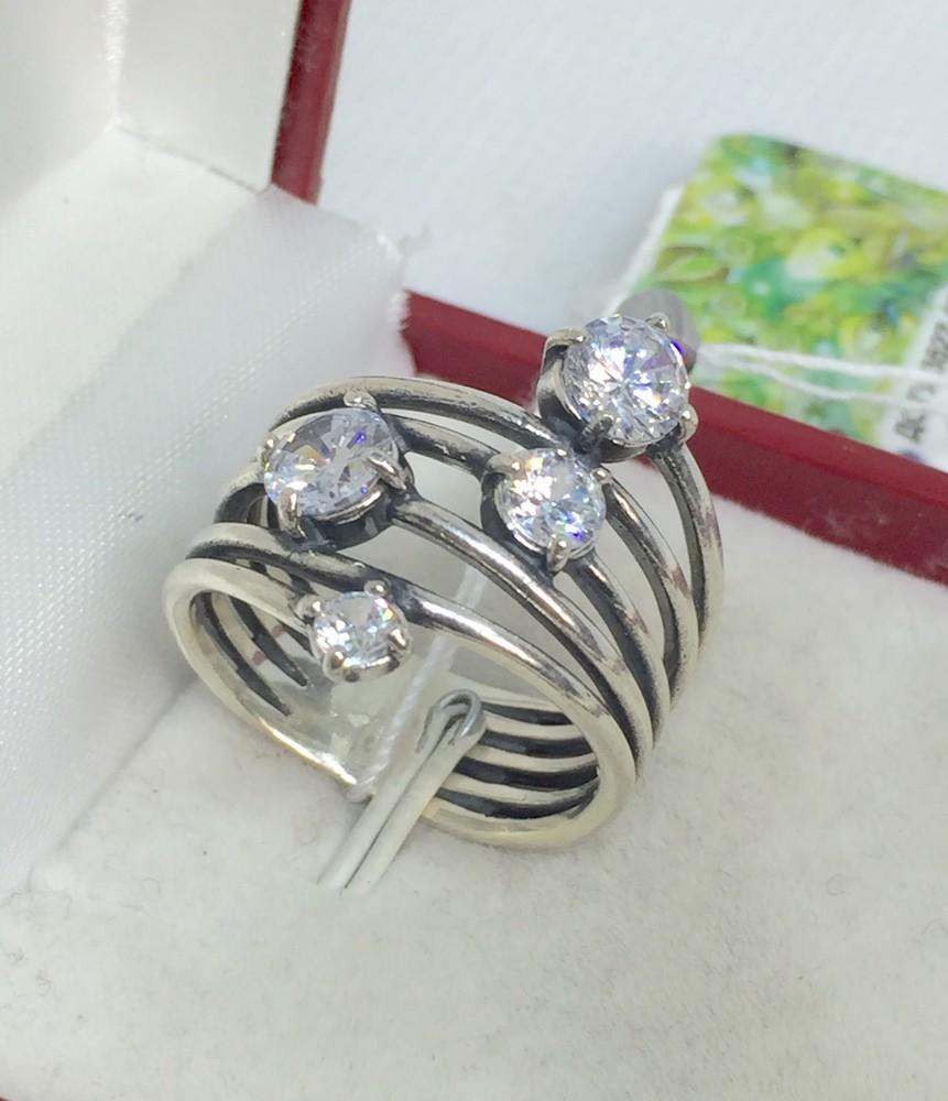 Новое красивое серебряное кольцо куб.цирконий серебро 925 пробы фото №1