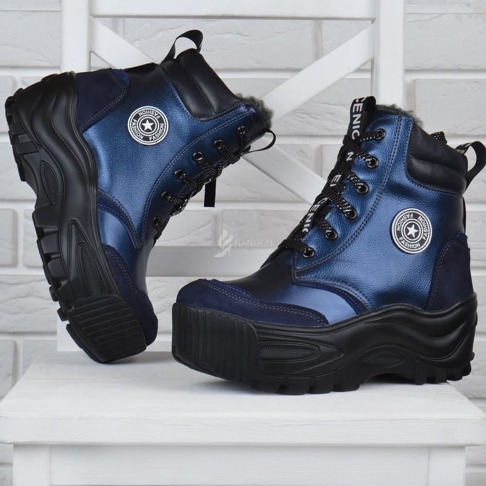 Ботинки женские зимние кожаные на платформе nice shoes синие фото №1
