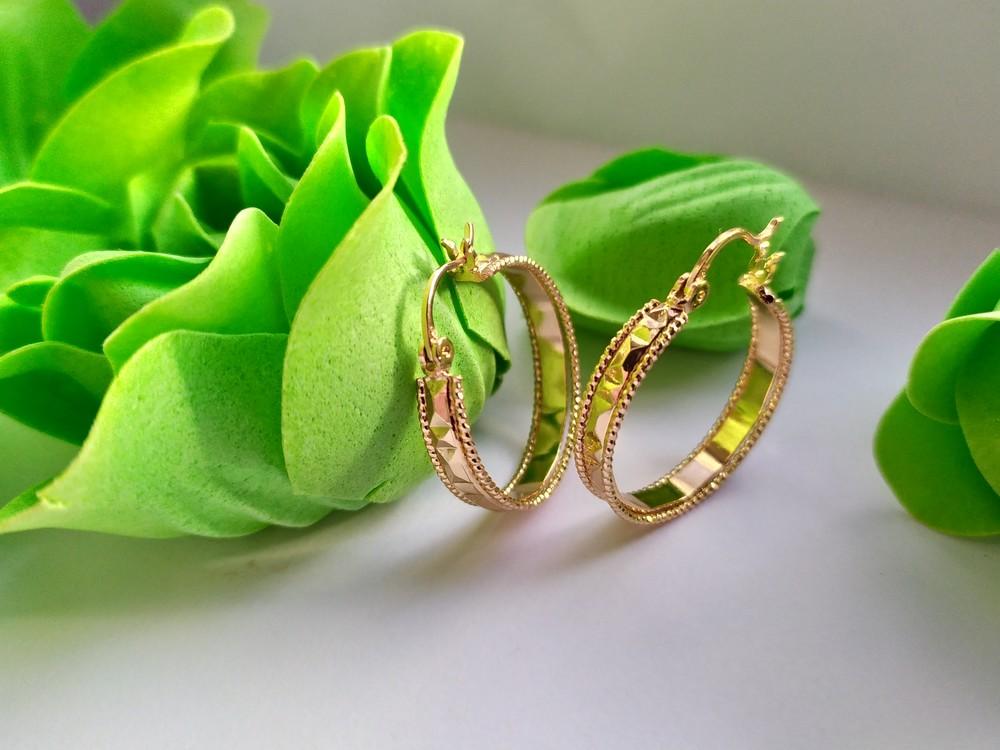 Позолоченные серьги-кольца хuping, позолта, сережки фото №1