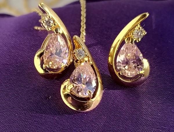 Позолоченные серьги с кулоном - розовый кристалл, позолота фото №1