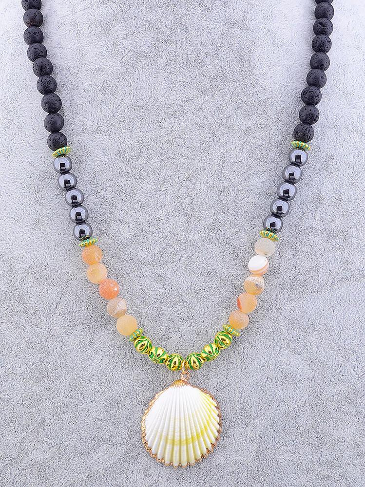 Стильные бусы из натурального камня шунгит, ракушка, агат 45 см. фото №1