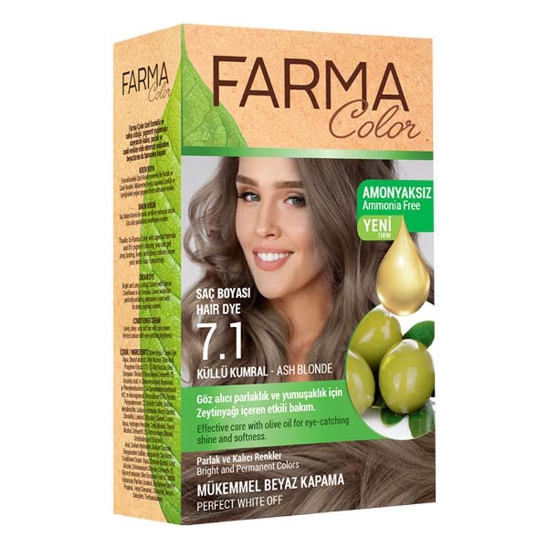 Крем-краска для волос 7.1 пепельный farmasi фото №1