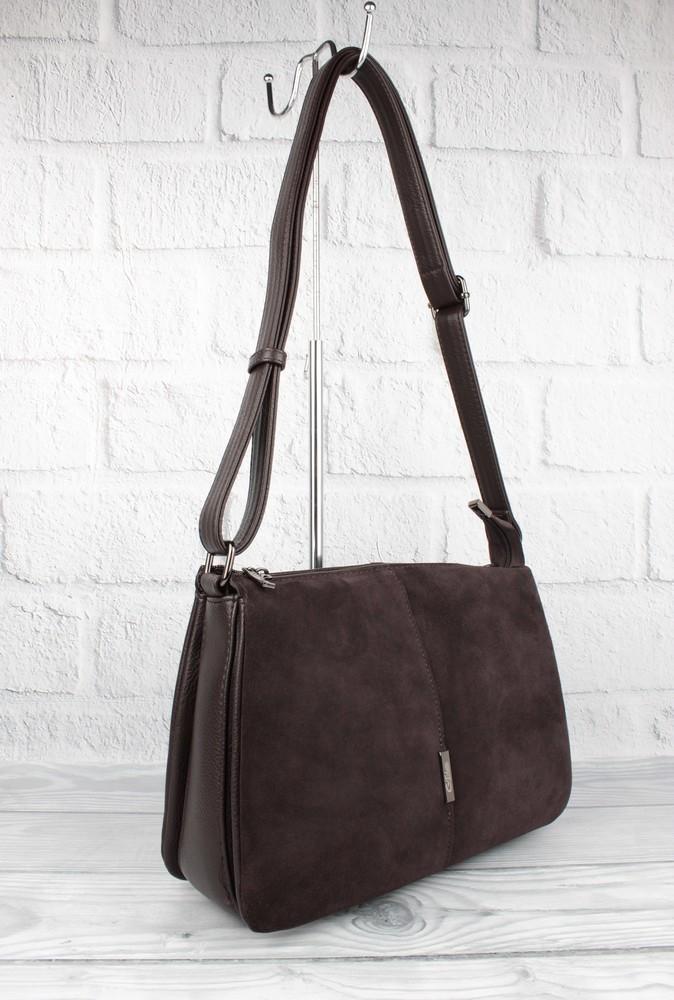 Мягкая, вместительная сумка gilda tohetti 60488-1 коричневая с замшевой вставкой фото №1