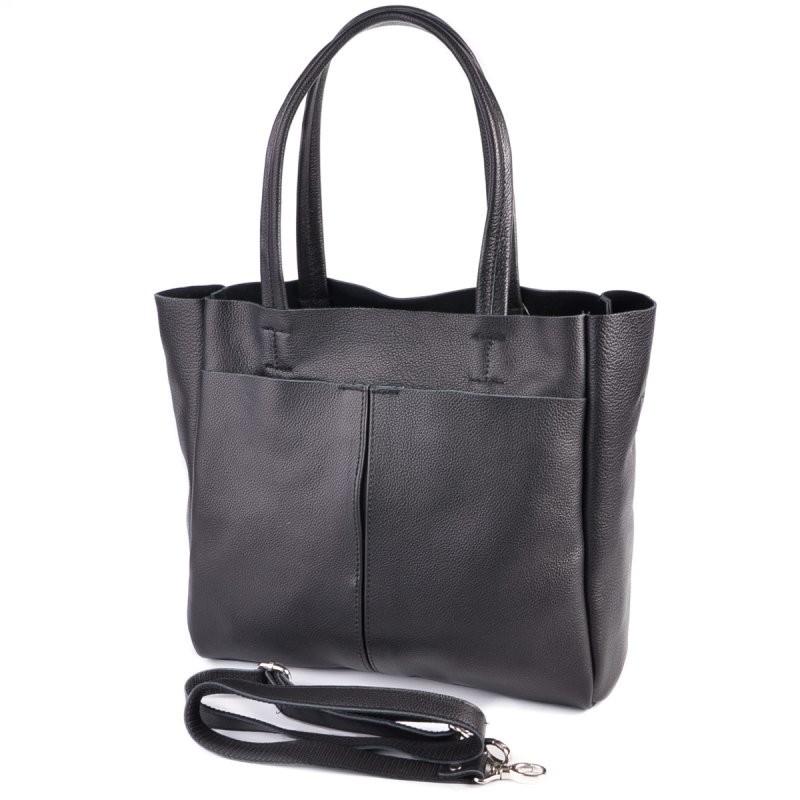 Кожаная сумка м244 black деловая с ручками на плечо фото №1