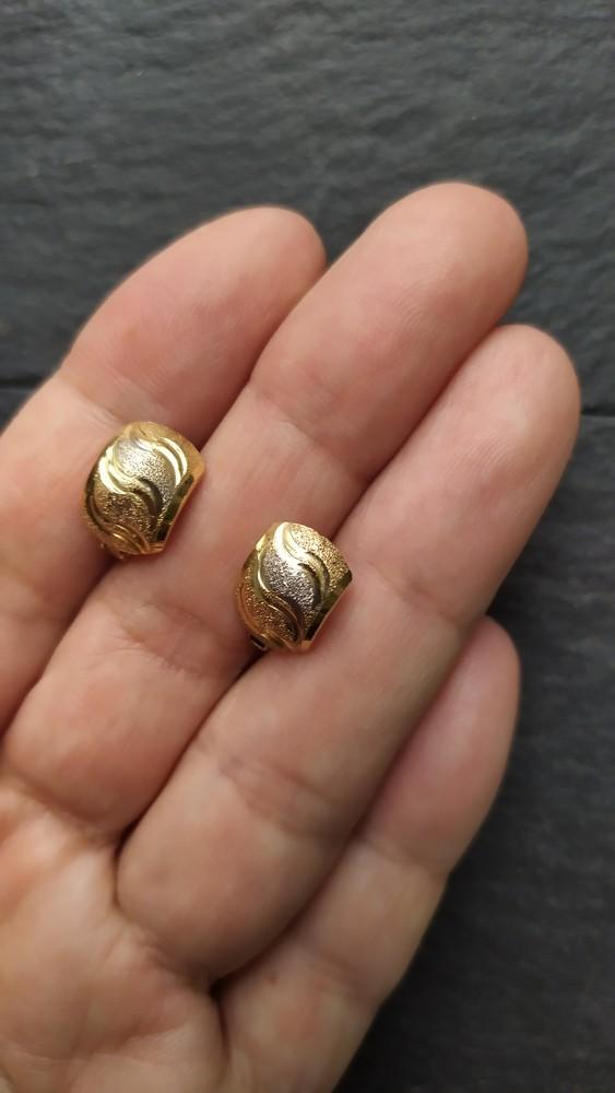 Золотые серьги 750 проба, лимонное золото, сережки, кульчики, италия! фото №1