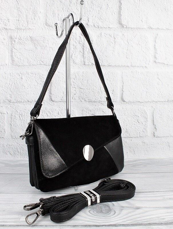 Сумка женская малая кожзам черная комбинированная gilda tohetti 62089 фото №1