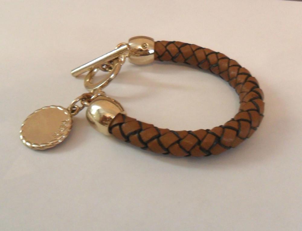 Кожаный, коричневый браслет reiss фото №1