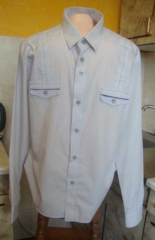Рубашка нежно-серая ribery l/xl 43/44 70%котон, 30%полиэстер фото №1