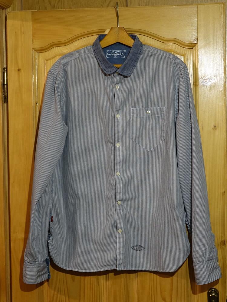 Классная комбинированная приталенная фирменная рубашка levi strauss & co l. фото №1