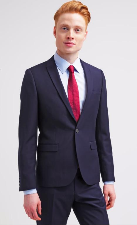 Костюм классический темно-синий burton menswear, l фото №1