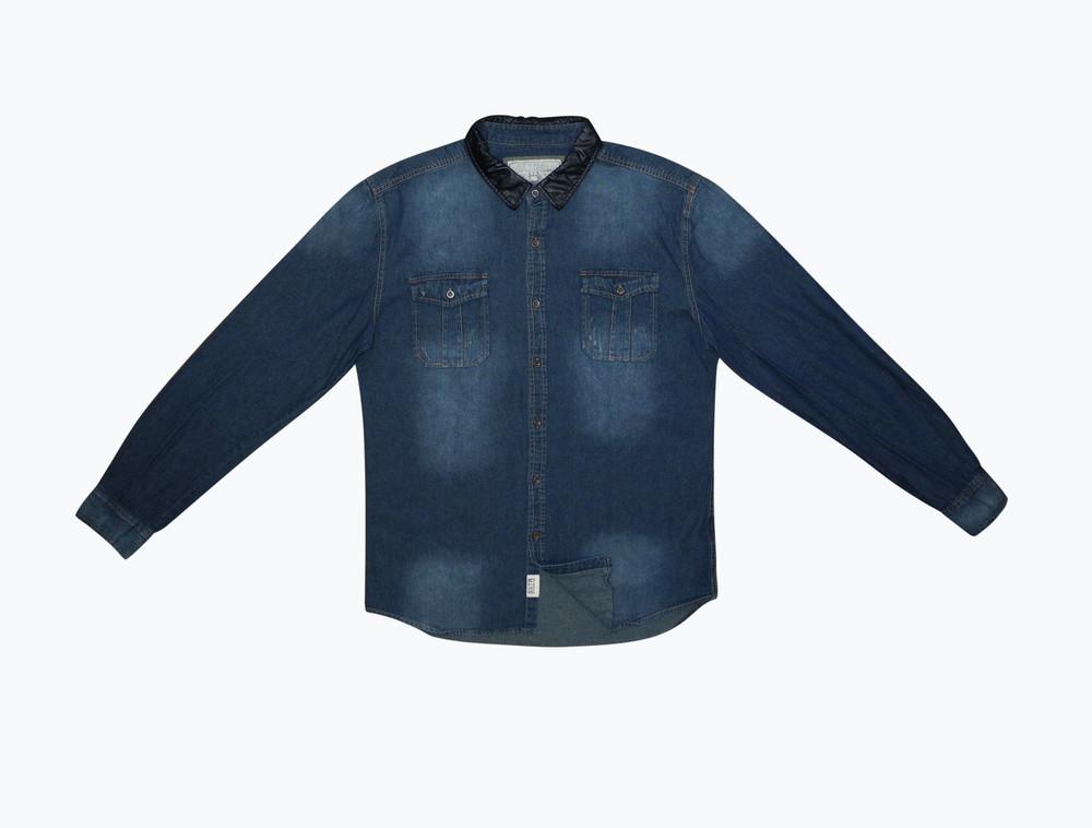 Мужская рубашка синяя джинсовая soul star & co l фото №1
