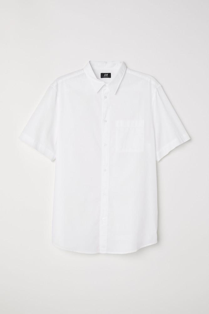S/м/l/xxl h&m белая натуральная хлопковая рубашка тенниска regular fit фото №1