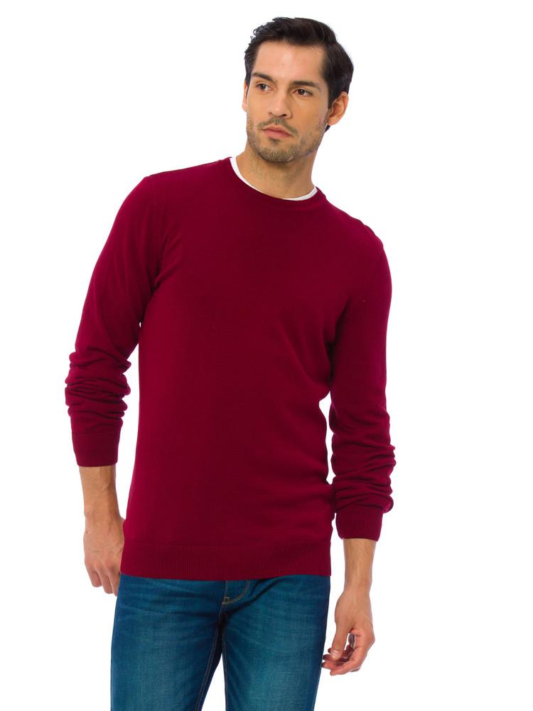 Бордовый мужской свитер lc waikiki / лс вайкики с круглым воротом фото №1