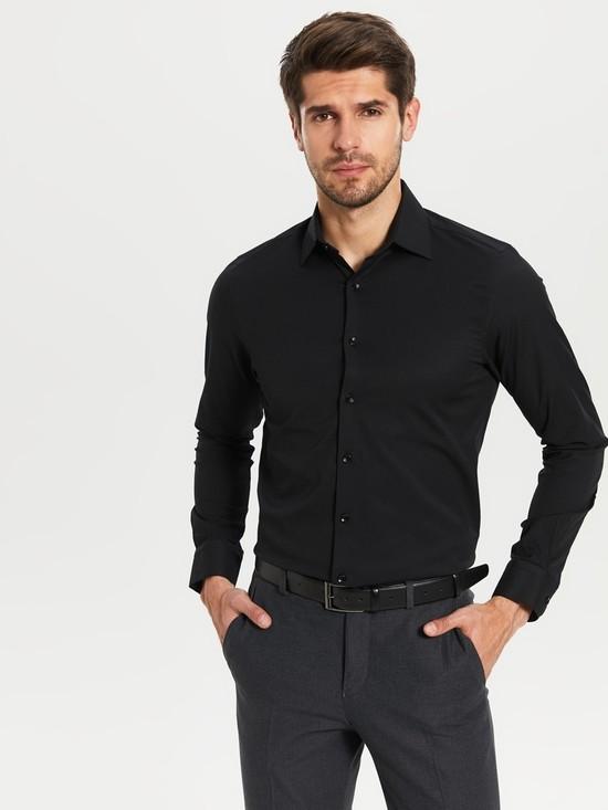 Черная мужская рубашка lc waikiki / лс вайкики на черных пуговицах фото №1