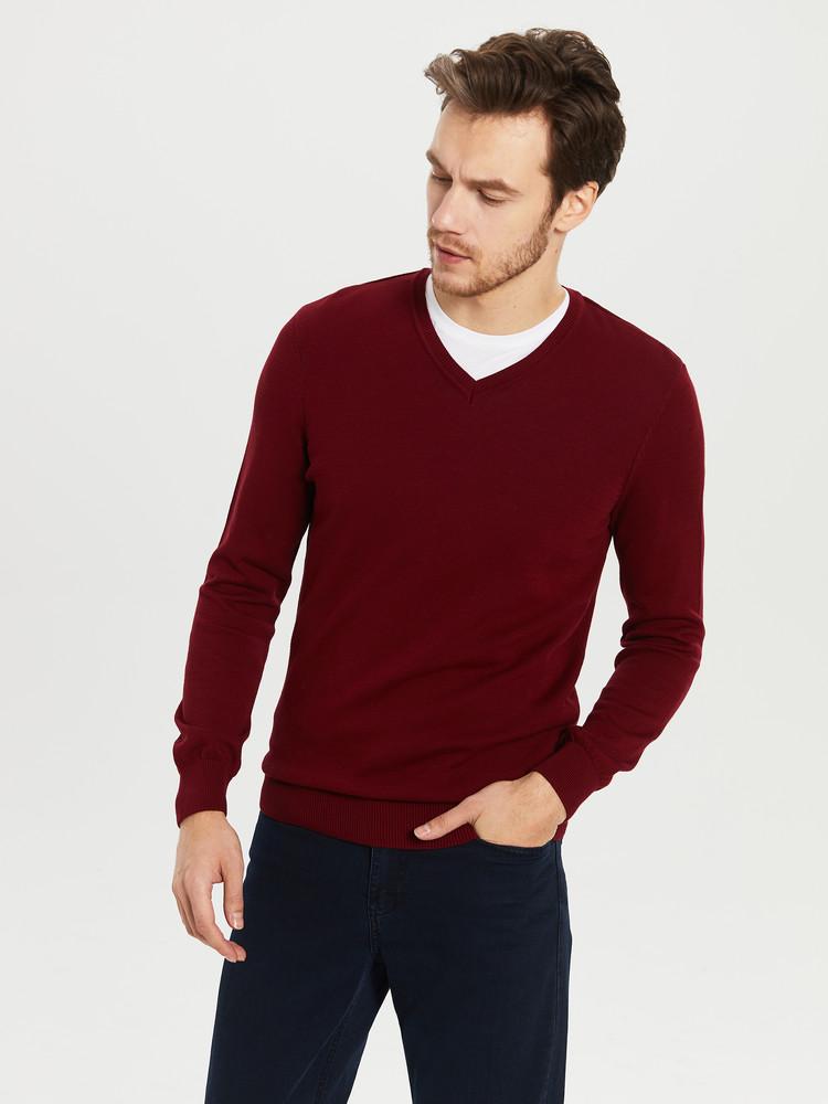 Бордовый мужской свитер lc waikiki / лс вайкики с v-образным вырезом фото №1