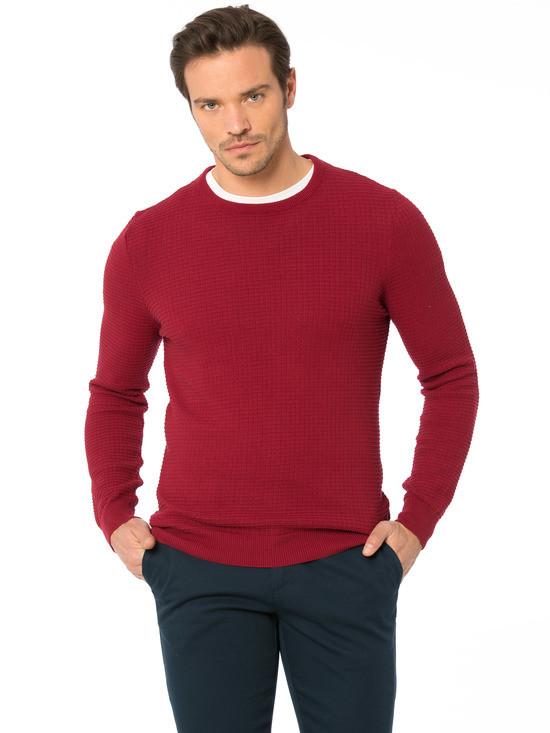 Бордовый мужской свитер lc waikiki / лс вайкики с фактурным рисунком фото №1