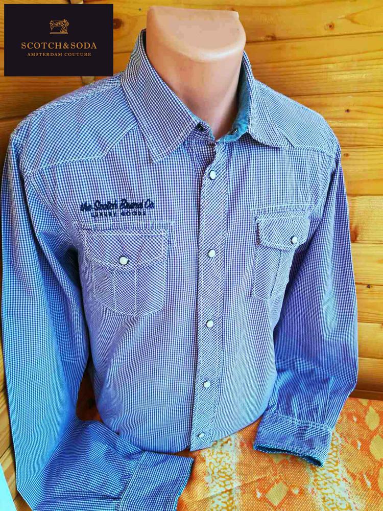 Эффектная рубашка голландского модного брендаscotch & soda на кнопках в фиолетовую клетку. фото №1