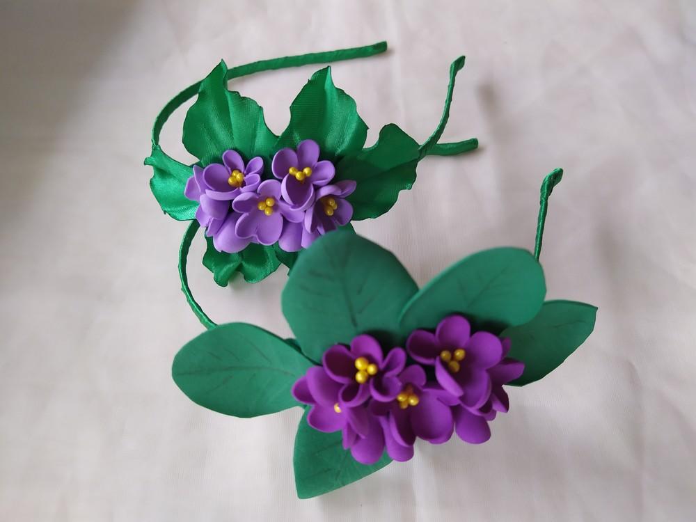 Обруч фиалка, ободок, веночек, цветы из фоамирана фото №1