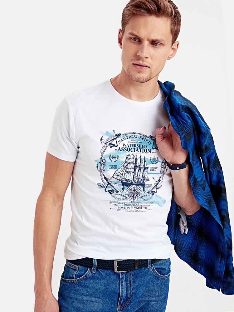 Белая мужская футболка lc waikiki / лс вайкики с якорями nautical spirit фото №1