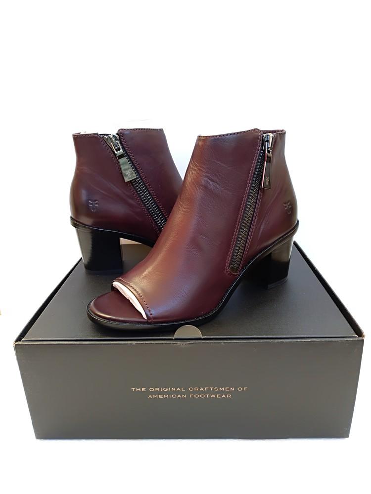 Женские ботинки с открытым носком frye brielle на молнии бордовые фото №1