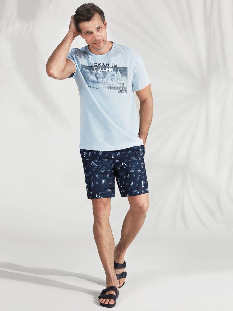 Голубая мужская футболка lc waikiki / лс вайкики ocean is calling фото №1