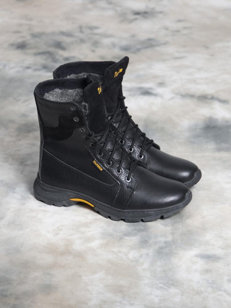 Зимние кожаные черные ботинки 40 - 44 размеры фото №1