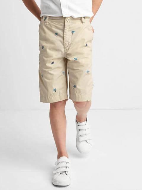 Удлиненные шорты gap песочные в пальмочки. размер 7 лет. фото №1