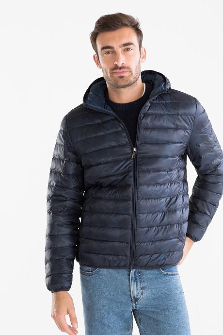 Темно-синяя немецкая пуховая демисезонная куртка с капюшоном с c&a, р-р s фото №1
