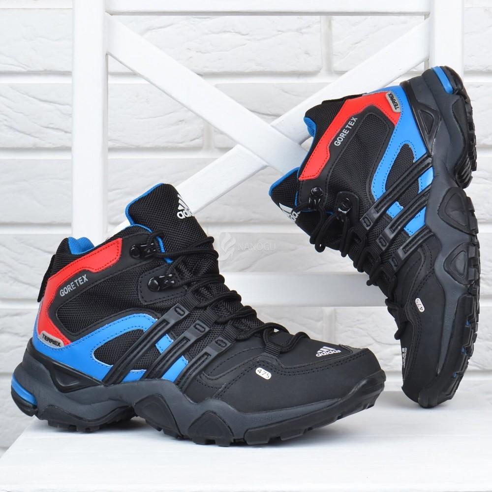 Термо кроссовки кожаные adidas gore tex terrex детские черные с синим и красным фото №1