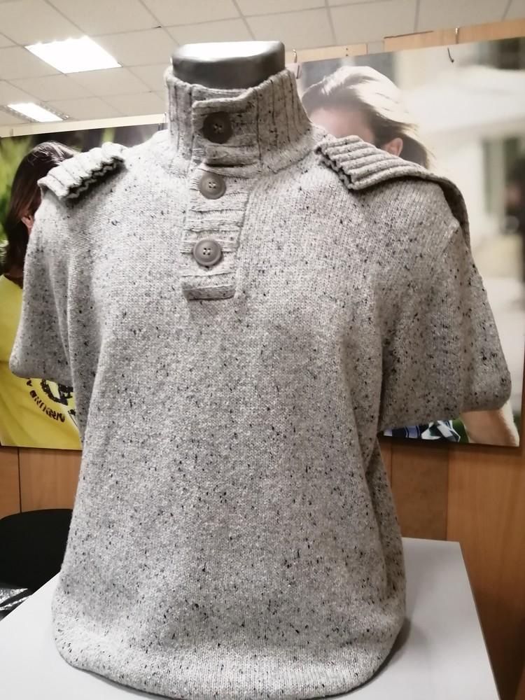Мужской свитер серого цвета, ворот стойка, размер s фото №1